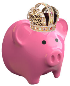 Pink Pig piggybank with a jeweled crown on the Pro Tax & Accounting Pink Pig piggybank with a jeweled crown on the Pro Tax & Accounting website