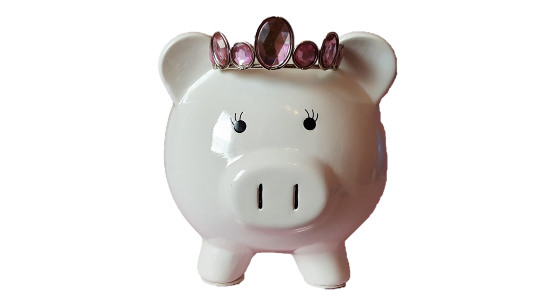 A white piggybank with a pink jeweled tiara representing tax services