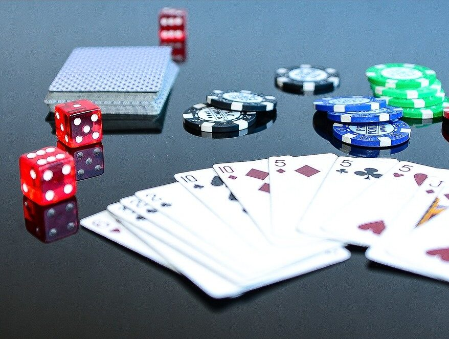 Card game with poker chips