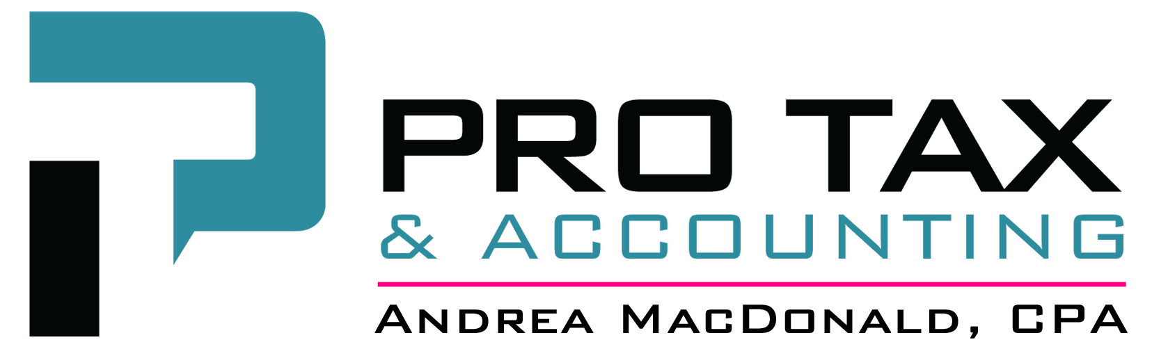 Pro Tax & Accounting, LLC logo in teal, black and pink