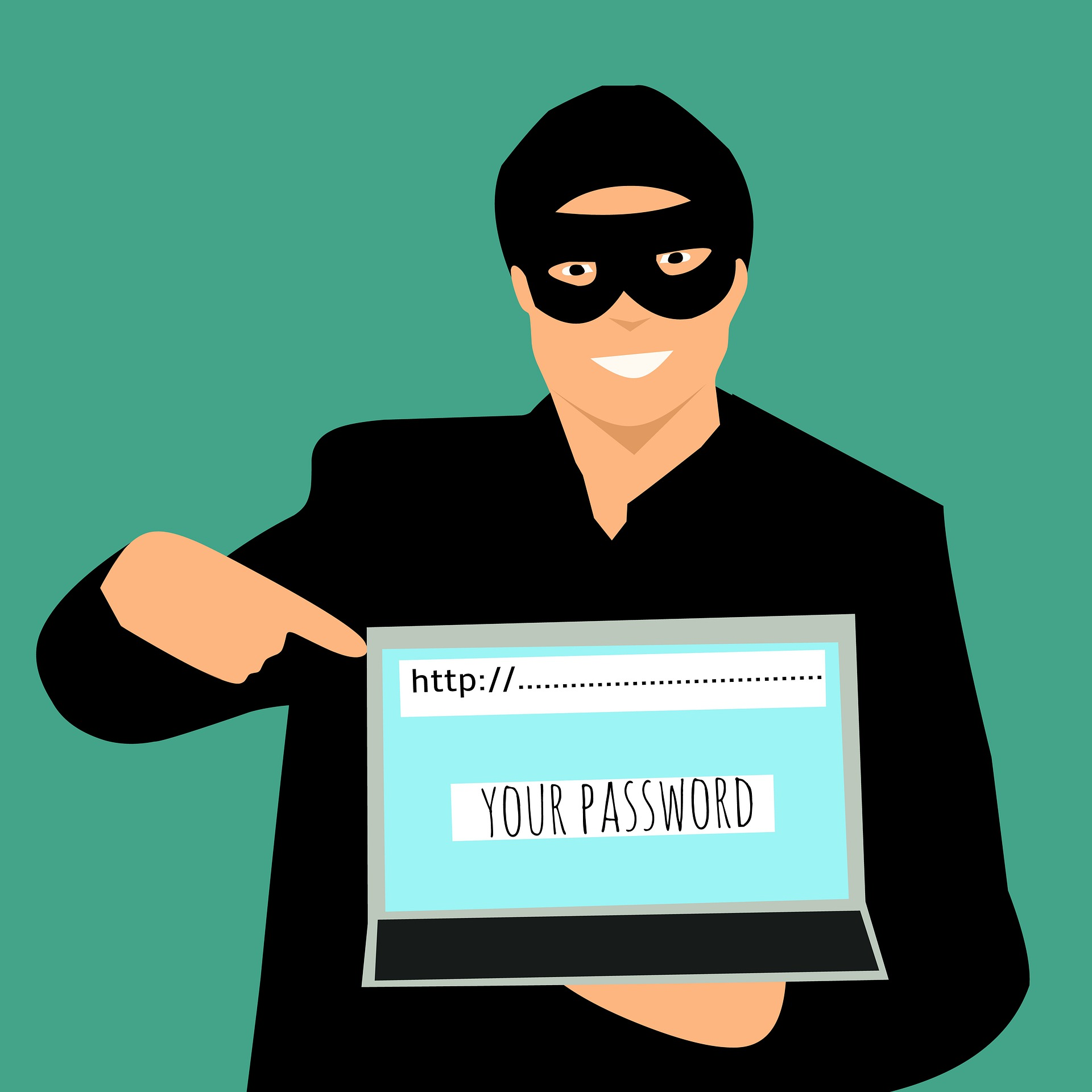 Hacker man holding computer asking for password on Pro Tax & Accounting Blog